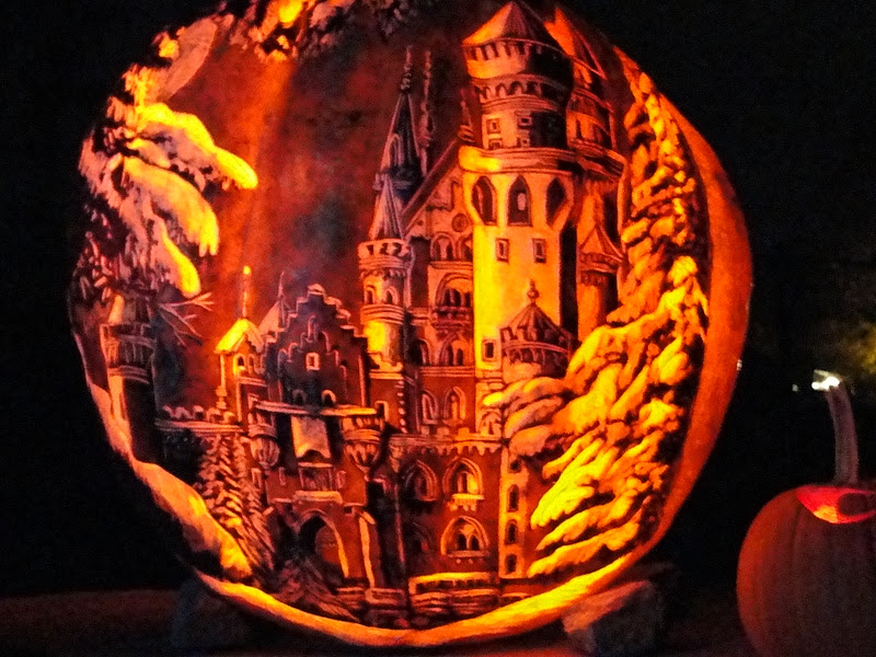 The pumpkin carvings are true works of art.
