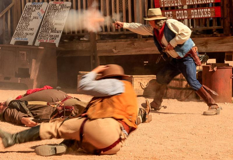 The Goldfield Gunfighters in action. Reenactments take place weekend afternoons from November - April.