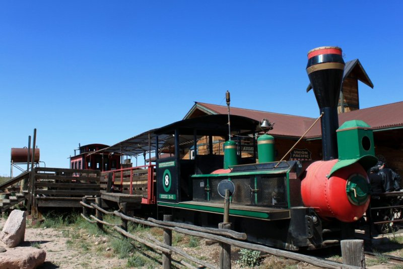 Narrow gauge trains, like the one visitors ride at Goldfield, run on a track narrower than the standard track, making them cheaper and faster to build.