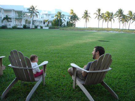 Marc and Riley taking it easy during one of our first family vacations.