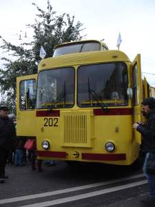 Yellow trolleybus at the trolleybus parade 2015