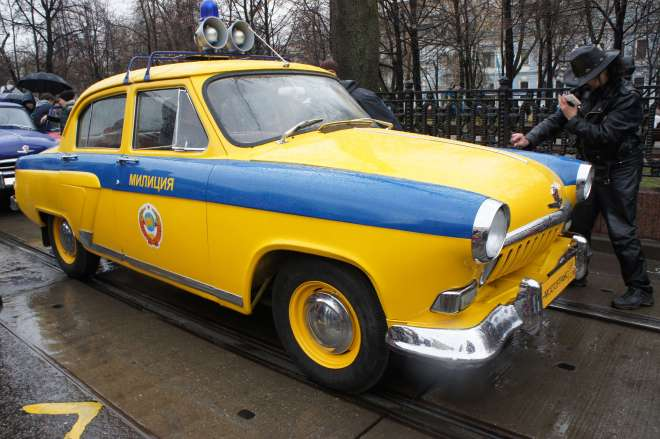 Vintage police car at the tram parade, Moscow
