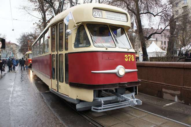 Vintage tram at the tram parade, Moscow