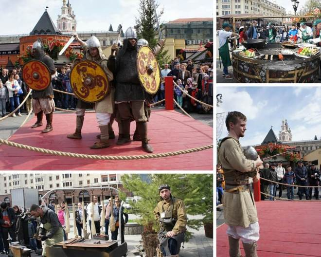 Bogatyrs at the Spring Festival Moscow