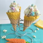 White Chocolate Popcorn Bunny Munch Treat in a Waffle Cone