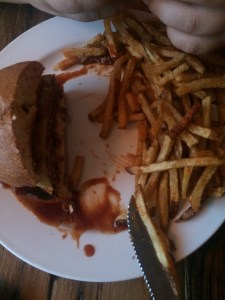 yumm. Bison burger with the works!