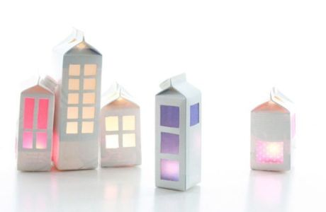 Amazing Lighted Houses Made From Recycled Milk Cartons