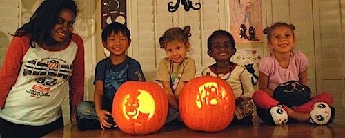 Jack O'Lanterns with Exchange Student- Kid World Citizen