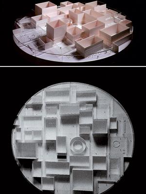 Mô hình bảo tàng nghệ thuật đương đại ở thành phố Kanazawa. Sự tổ hợp của các khối hình học đơn giản.