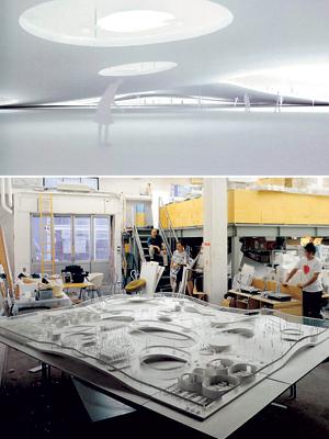 ảnh phải : Khu nhà tổ hợp chức năng của trường đại học Bách khoa Lausanne, Thuỵ Sĩ. Các công năng được phân chia theo sự thay đổi lên xuống của sàn nhà. Sự khai thác không gian theo chiều đứng.