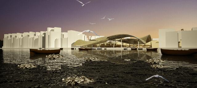 Phối cảnh công trình nhìn từ bờ sông Cần Thơ