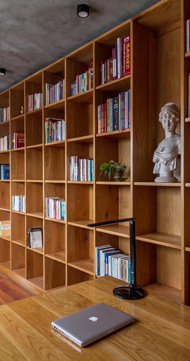 Không gian làm việc và đọc sách của gia chủ. Ảnh © Hoàng Lê
