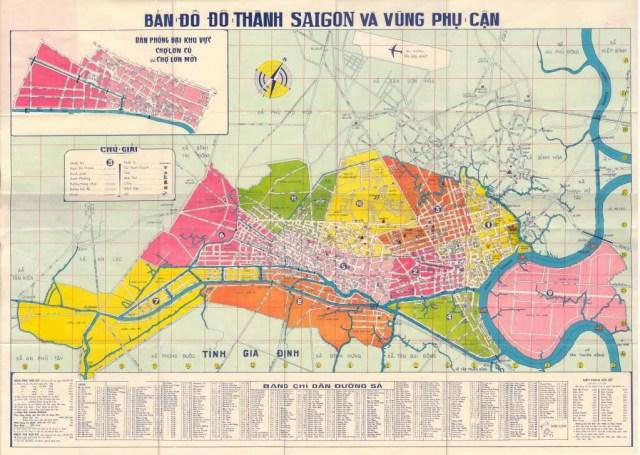 """Quy hoạch Sài Gòn trước 1975 """"phát triển theo hình chùm nho nằm hướng đông tây"""", nở rộng một chút lên phía bắc (tới Công viên Lê Thị Riêng hiện nay), phía nam (Q.4) - Bản đồ tư liệu"""