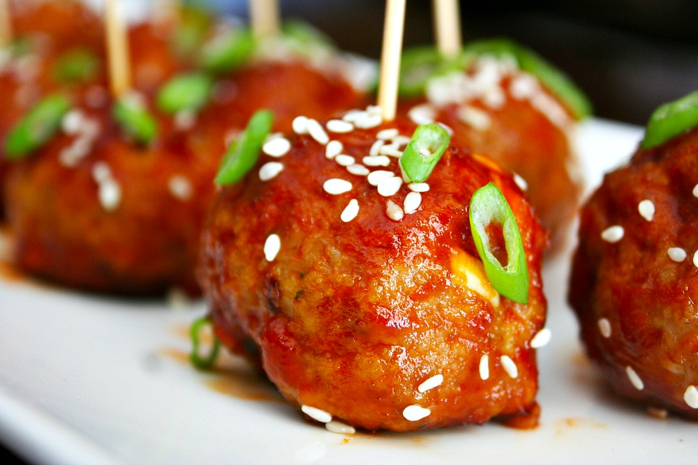 Sticky Sriracha Meatballs - Killing Thyme