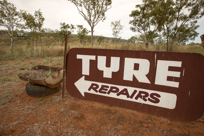Tyre Repairs on the Gibb River Road