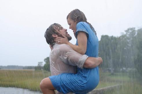 Ryan Gosling in the Notebook rain kissing scene