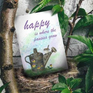 happy is where the pansies grow, sparrow on watering can card image