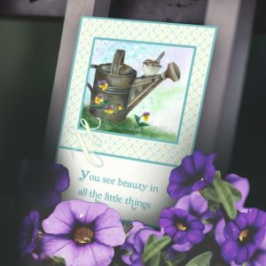 thank-you card handpainted image of sparrow perched on rustic watering can sitting on grass and pansies