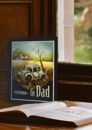 Vintage Car Original Oil Print Father's Day Card 2017