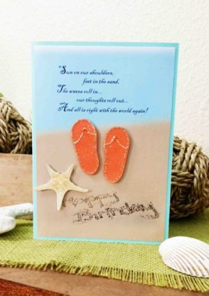 Happy Birthday handmade card sand, flip flops and starfish