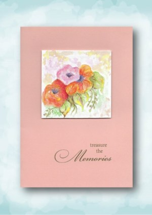 treasure the memories peach watercolor flowers sympathy card