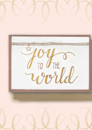 Joy to the World calligraphy card and envelope image