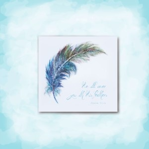 Watercolor Feather Card Image on aqua background He will cover you with his feathers