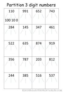 Partition 3 digit numbers worksheet