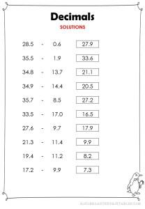subtract decimals tenths worksheet