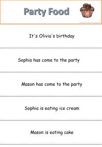 Reading Slips - Party Food