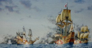 The San Juan Bautista's battle against the two English corsairs, the Treasurer and the White Lion.