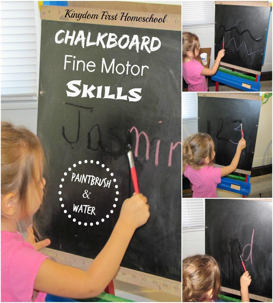 ChalkBoard Painting_Fine Motor Skills | Kingdom First Homeschool