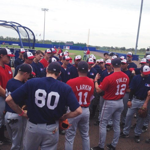 My Cincinnati brother, and the 2nd best short stop at camp, Barry Larkin (and Fin) talks to the guys before lunch. Practice in the mornings. Games in the afternoons. Meetings at night.