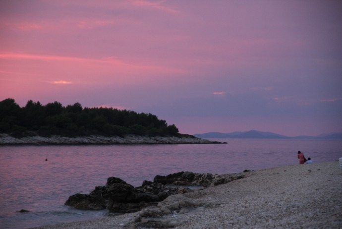 Sunset on the beach in Primosten, Croatia