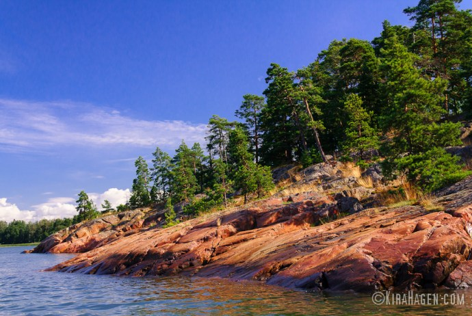 Stony shores of Långvik bay near Helsinki
