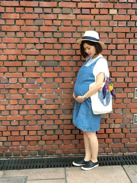 妊娠9ヶ月のワンピマタニティコーデ