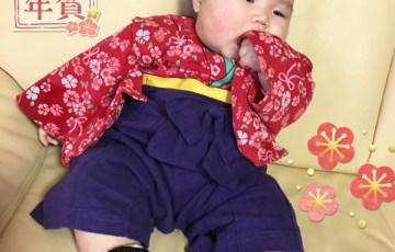 赤ちゃん女の子用袴風ロンパース着こなし