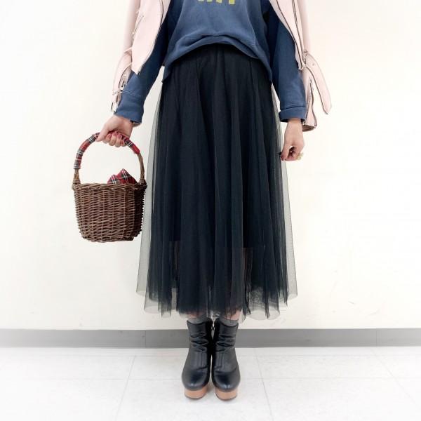 DHOLICブラックチュールロングスカート