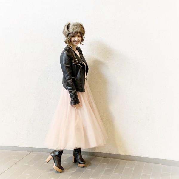DHOLICピンクチュールロングスカート