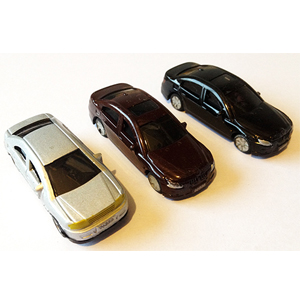 Colored plastic cars