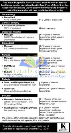Indus Hospital Karachi Pakistan Jobs 2015 Application Form Download Eligibility Criteria