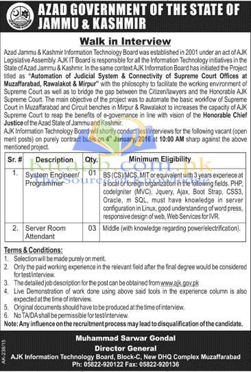 Azad Jammu and Kashmir Information Technology Board Jobs December 2015-16 Form Download Eligibility Criteria Dates
