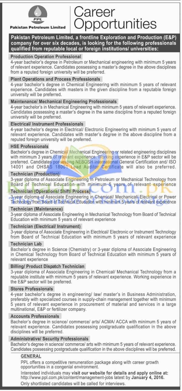 Pakistan Petroleum Limited Jobs December 2015 Application Form Download Eligibility Criteria Schedule