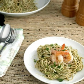 Although Chimichurri sauce is typically served alongside grilled steaks, lamb or pork sausages, we eat it with just about anything like pasta & shrimp.