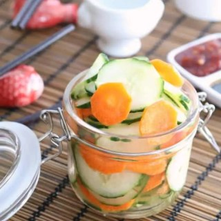believe it or not, the topic of quick pickled vegetables comes up a lot, especially in making Asian foods as a palate cleanser, sandwiches and tapas type appetizers. It's a good recipe to have and we find ourselves pickling this every week or so. We like them as a refreshing accompaniment to our weeknight dinners.