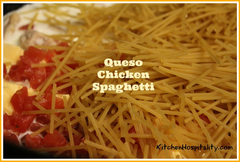 Queso Chicken Spaghetti in the Slow Cooker