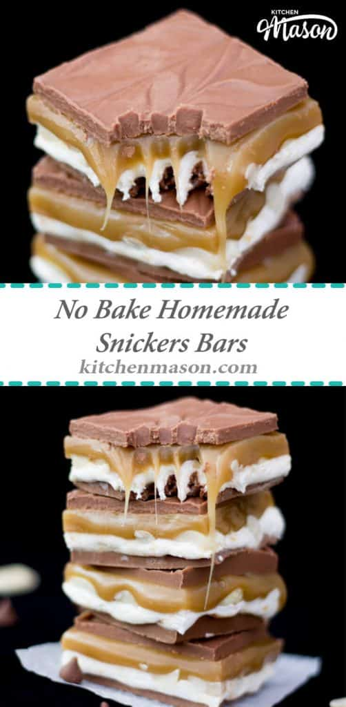No Bake Homemade Snickers Bars