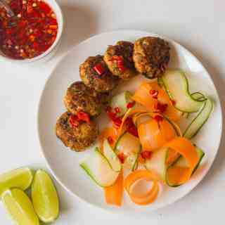 Thai Fish Cakes with Vegetable Ribbons