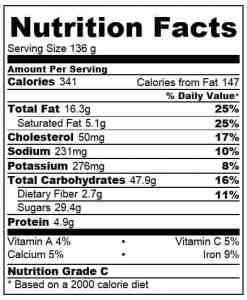 Chocolate Banana Sundae Cupcake nutritional info