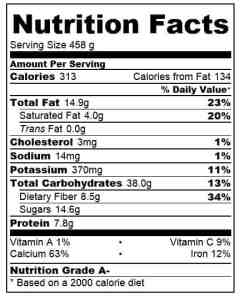 Oaty chocolate hot smoothie nutritional information